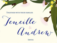 Australiana Themed Wedding Invitation, Save The Date & RSVP