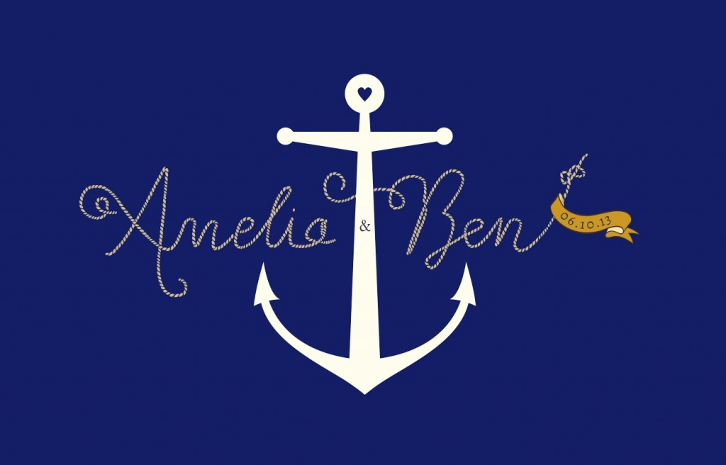 nautical yacht sailing club wedding invitation illustraton front