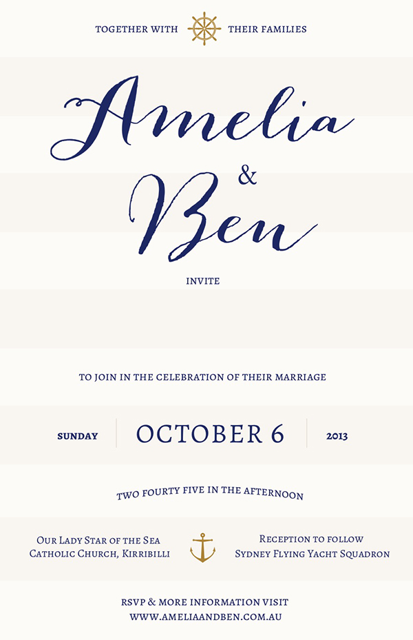nautical yacht sailing club wedding invitation